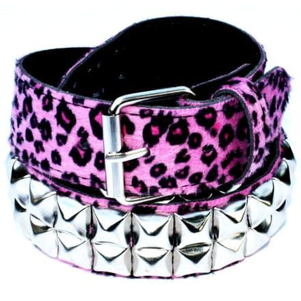 Pink Leopard Pyramid Studded Belt - Punk Rockabilly
